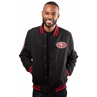 Ultra Game NFL San Francisco 49ers Mens Classic Varsity Coaches Jacket, Team Color, X-Large