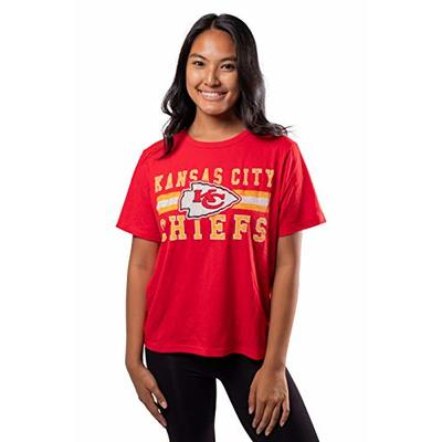 Ultra Game NFL Kansas City Chiefs Womens Distressed Graphics Soft Crew Neck Tee Shirt, Team Color, Medium