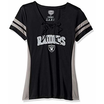 OTS NFL Oakland Raiders Women's Poly Lace Up V-Neck Tee, Weber, Large