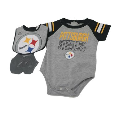 Pittsburgh Steelers Official NFL Baby Infant Size 3 Piece Creeper Bib & Boots