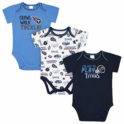 NFL Tennessee Titans 3 Pack Short Sleeve Bodysuit, Blue/White Tennessee Titans, 0-3 Months