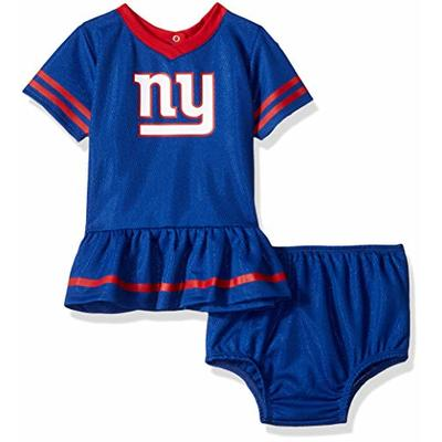NFL New York Giants Team Jersey Dress and Diaper Cover, blue/red New York Giants, 6-12 Months