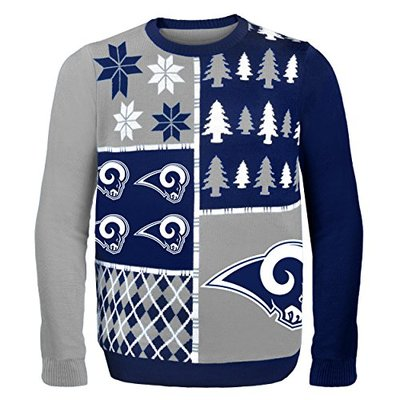 NFL Los Angeles Rams BUSY BLOCK Ugly Sweater, Large