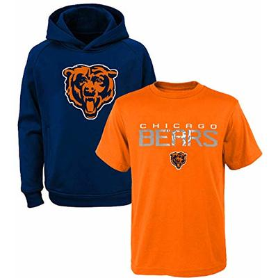 NFL Youth 8-20 Polyester Performance Primary Logo Hoodie & T-Shirt 2 Pack Set (Small 8, Chicago Bears)