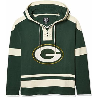 OTS NFL Green Bay Packers Men's Grant Lace Up Pullover Hoodie, Logo, Large