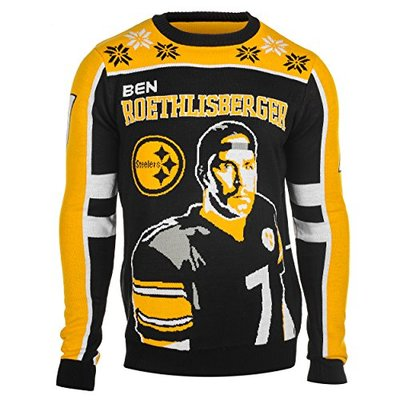 NFL Pittsburgh Steelers Player Portrait Ugly Sweater, Ben Roethlisberger, XX-Large