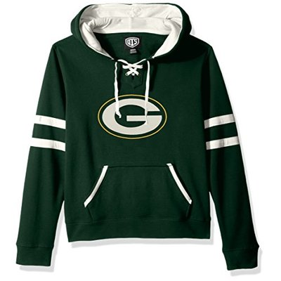 OTS NFL Green Bay Packers Women's Grant Lace Up Pullover Hoodie, Logo, Medium