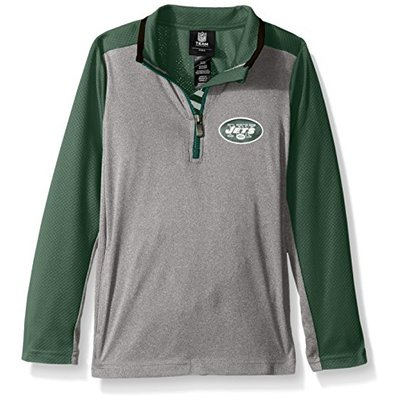"NFL Youth Boys ""Matrix"" 1/4 Zip Top-Light Charcoal-M(10-12), New York Jets"