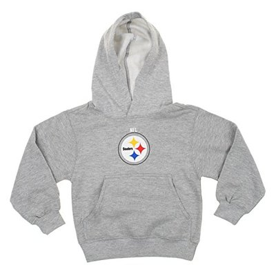 Outerstuff NFL Big Boys Youth/Little Boys Kids Team Logo Pullover Hoodie, Pittsburgh Steelers- Grey