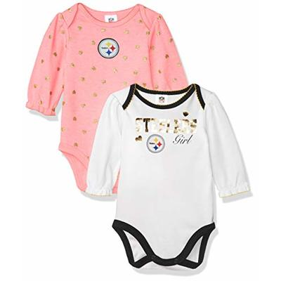 NFL Pittsburgh Steelers girls 2 Pack Long Sleeve Bodysuit, black/gold/red/blue/grey/pink, 3-6M