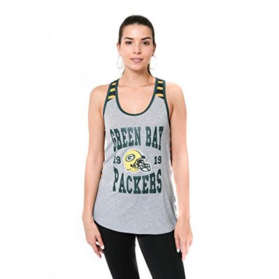 Ultra Game NFL Green Bay Packers Womens Jersey Tank Top Sleeveless Mesh Tee Shirt, Team Color, Large