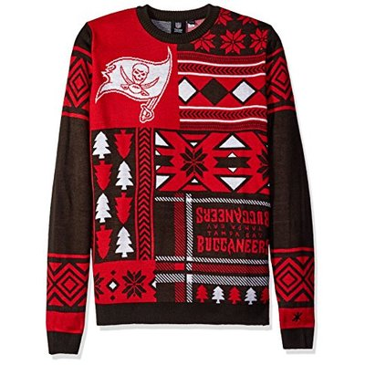 NFL TAMPA BAY BUCCANEERS PATCHES Ugly Sweater, Small