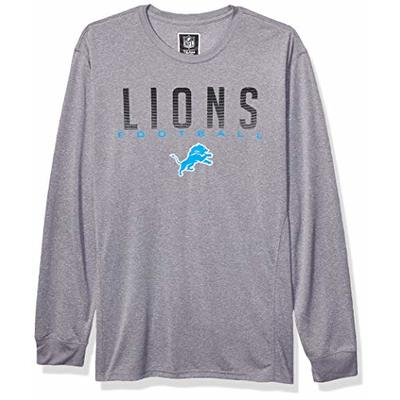 NFL Ultra Game Detroit Lions Active Long Sleeve Tee Shirt, Medium, Heather Grey
