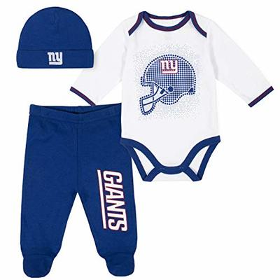 NFL New York Giants 3 Pack Bodysuit Footed Pant and Cap Registry Gift Set, Blue/White New York Giants, 6-9M