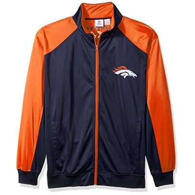 NFL Denver Broncos Men FULL ZIP TRICOT TRACK JACKET, NAVY/ORANGE, 3XT