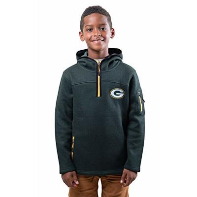 Ultra Game NFL Green Bay Packers Youth Extra Soft Fleece Quarter Zip Pullover Hoodie Sweartshirt, Team Color, Large