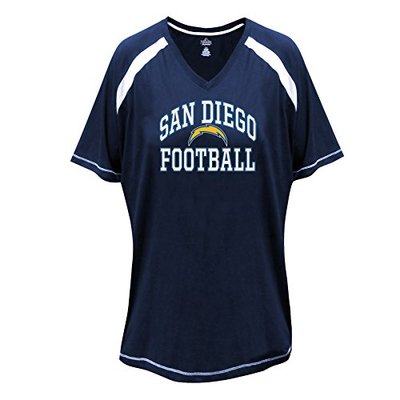 NFL San Diego Chargers Short Sleeve Raglan Tee, 1X, Navy/White