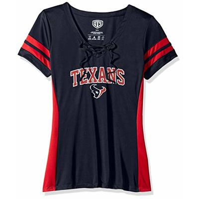 OTS NFL Houston Texans Women's Poly Lace Up V-Neck Tee, Weber, Small