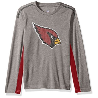 "NFL Youth Boys ""Mainframe"" Long Sleeve Performance Tee-Light Charcoal-M(10-12), Arizona Cardinals"