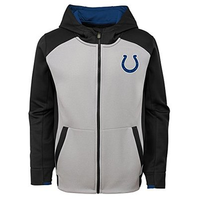 "NFL Indianapolis Colts 4-7 Outerstuff ""Hi Tech"" Performance Full Zip Hoodie, Team Color, Kids Medium (5-6)"