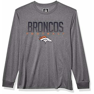 NFL Ultra Game Denver Broncos Active Long Sleeve Tee Shirt, Small, Heather Grey