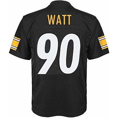 Outerstuff T.J. Watt Pittsburgh Steelers NFL Boys Youth 8-20 Black Home Mid-Tier Jersey (Youth Small 8)