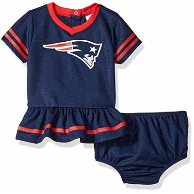 NFL New England Patriots Team Jersey Dress and Diaper Cover, Blue/red New England Patriots, 6-12 Months