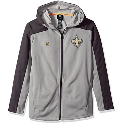 NFL by Outerstuff NFL Youth Boys Delta Full Zip Jacket, Magna Pique Heather, X-Large(18), New Orleans Saints, Youth Boys X-Large(18)