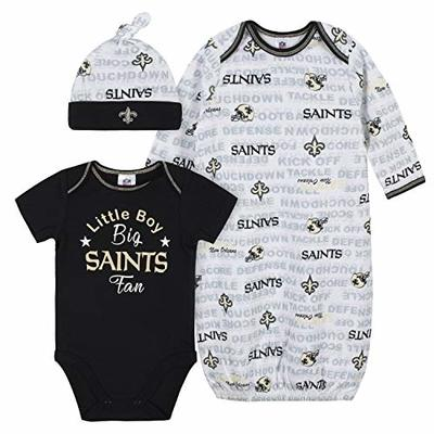 NFL New Orlean Saints Boys BODYSUIT GOWN AND CAP SET, Team Color, 0-3M