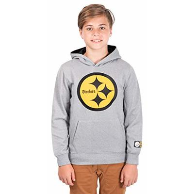 Ultra Game NFL Pittsburgh Steelers Youth Extra Soft Poly Dry Fleece Pullover , Heather Gray, 8