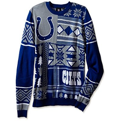 NFL INDIANAPOLIS COLTS PATCHES Ugly Sweater, Large