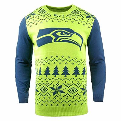 NFL Seattle Seahawks Two-Tone Cotton Ugly Sweatertwo-Tone Cotton Ugly Sweater, Green, Medium