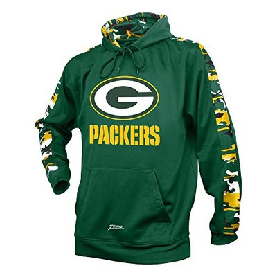 Zubaz NFL Bay Packers Men's Camo Print Accent Team Logo Synthetic Hoodie, Large, Green