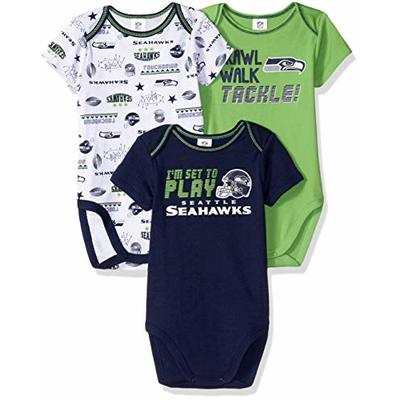 NFL Seattle Seahawks 3 Pack Short Sleeve Bodysuit, blue/green/white Seattle Seahawks, 3-6 Months