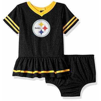 NFL Pittsburgh Steelers Team Jersey Dress and Diaper Cover, black/yellow Pittsburgh Steelers, 0-3 Months