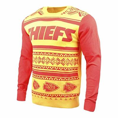 Klew NFL Kansas City Chiefs Two-Tone Cotton Ugly Sweater, Red, X-Large