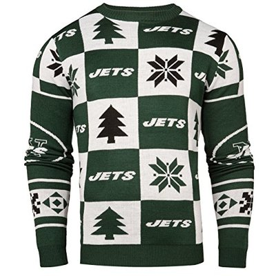Forever Collectibles NFL Mens 2016 Patches Ugly Crew Neck Sweater, New York Jets