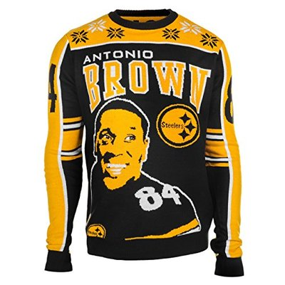 NFL Pittsburgh Steelers Player Portrait Ugly Sweater, Antonio Brown, Large