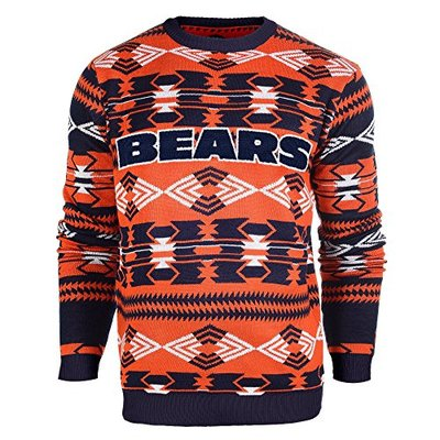 NFL Football 2015 Aztec Ugly Crew Neck Holiday Sweater – Pick Team (Chicago Bears, Medium)