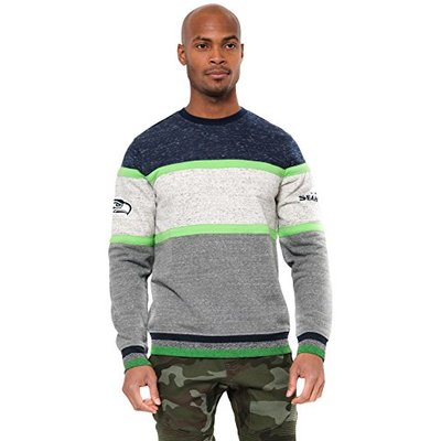 Ultra Game NFL Seattle Seahawks Mens Fleece Sweatshirt Long Sleeve Shirt Block Stripe, Team Color, Large