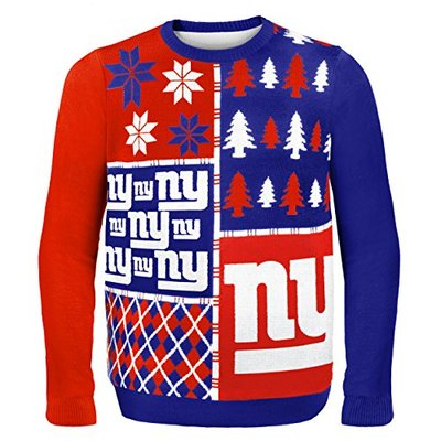 NFL New York Giants BUSY BLOCK Ugly Sweater, X-Large