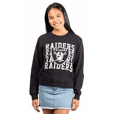 Ultra Game NFL Las Vegas Raiders Womens Extra Soft Snow Distressed Fleece Long Sleeve Sweatshirt, Team Color, Large