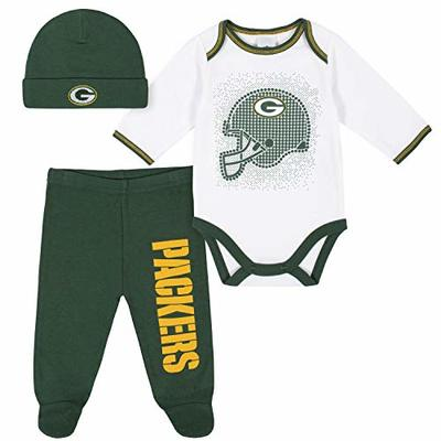 NFL Green Bay Packers 3 Pack Bodysuit Footed Pant and Cap Registry Gift Set, Green/White Green Bay Packers, 0-3M