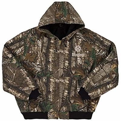 NFL Pittsburgh Steelers The Camo Canvas Quilt Lined Hooded Jacket, Real Tree Camouflage, Large