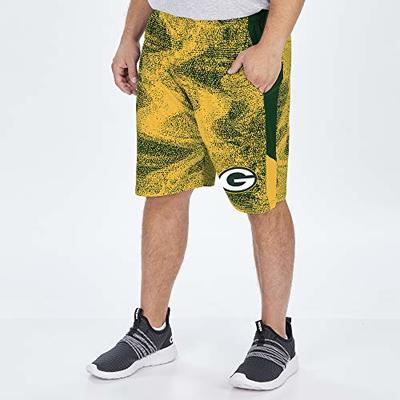 Zubaz NFL Green Bay Packers Men's Static Short with Solid Side Panels, Green/Gold, Large
