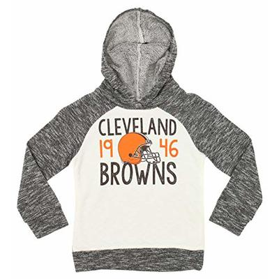 Outerstuff NFL Big Girls Youth (4-16) French Terry Fleece Hoodie Grey/White, Cleveland Browns, Small 6-6X