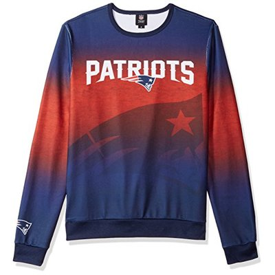 NFL New England Patriots PRINTED GRADIENT Ugly Sweater, Large