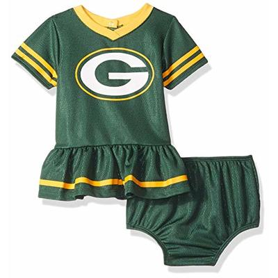 NFL Green Bay Packers Team Jersey Dress and Diaper Cover, green/yellow Green Bay Packers, 3-6 Months