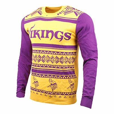 Klew NFL Minnesota Vikings Two-Tone Cotton Ugly Sweater, Purple, Medium