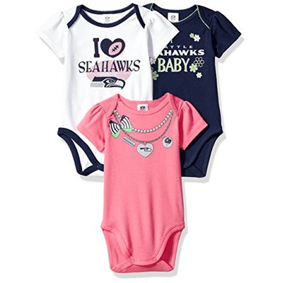 NFL Seattle Seahawks Girls Short Sleeve Bodysuit (3 Pack), 0-3 Months, Pink